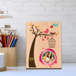 Love Birds Wooden Photo Frame - Personalised Photo Frames Online