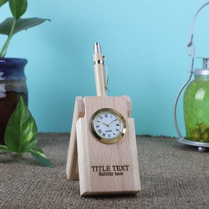 Wooden Pen Holder Clock - Personalised Photo Watch Online