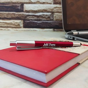 Personalised Red Silver Glow Pen