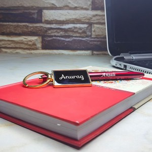 Personalised Metal Key Ring With Pen