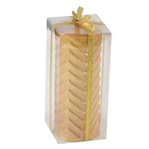 Golden Metallic Zig Zag Pillar Candle - Diwali Gifts Online in India