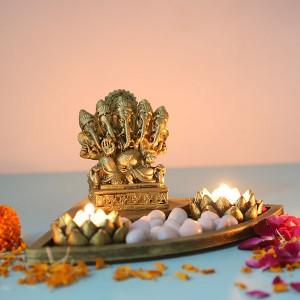 Ganesha Gift Setin a Oval Shape Tray - T Light Holder Online