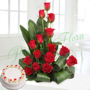 Corp Flower with Pineapple Cake - Flower Delivery in Bangalore