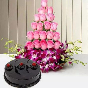Roses And Orchids Basket With Cake - Flower Delivery in Bangalore