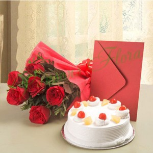 Roses N Cake Hamper - Flower Delivery in Bangalore