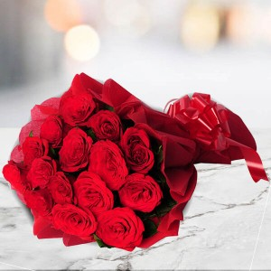 15 Red Roses Bouquet - Flower Delivery in Bangalore