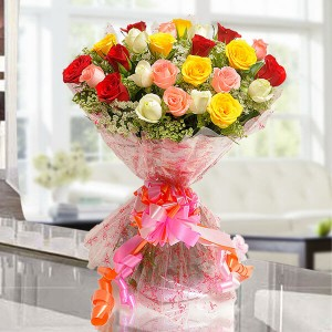 Elegant Mix 25 Mix Roses Online - Flower Delivery in Bangalore