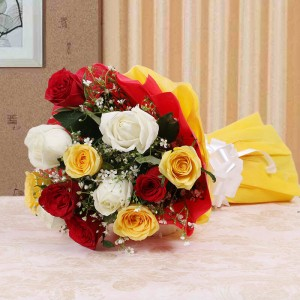 Colorful Hue 10 Mix Roses Online - Flower Delivery in Bangalore