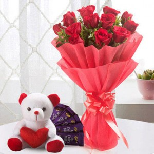 Perfect Love Combo 12 Red Roses 5 Chocolate Teddy - Flower Delivery in Bangalore