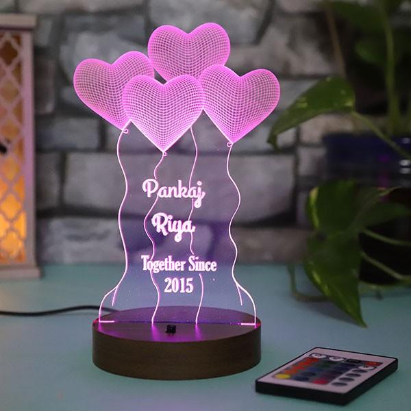 Personalised Hearts led lamp