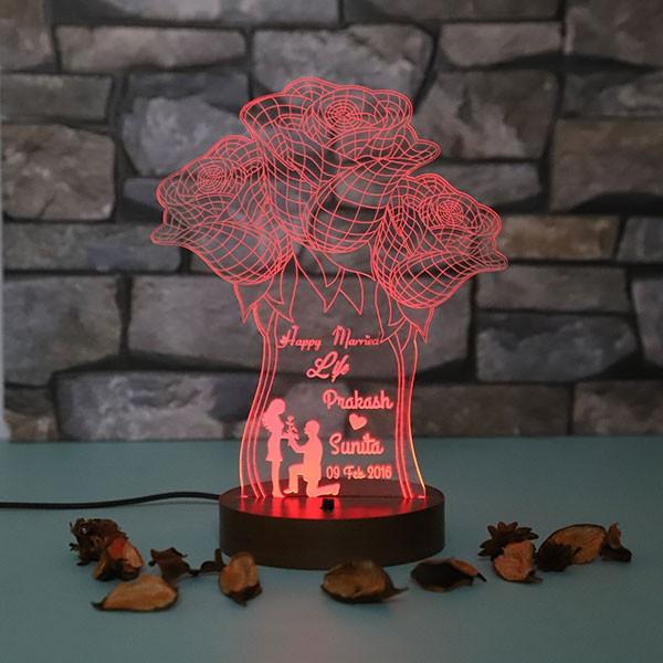 Personalised Roses led lamp