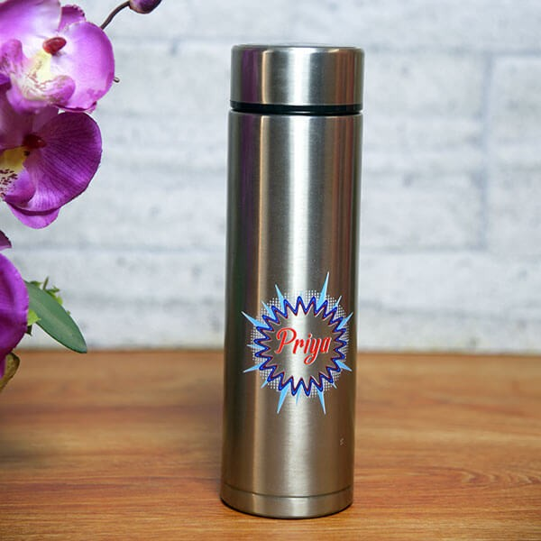Personalised Silver Bottle with Led Temperature indicator