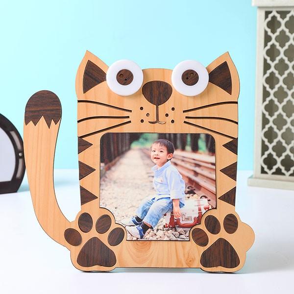 Customised Kids Cat Shape Photo Frame