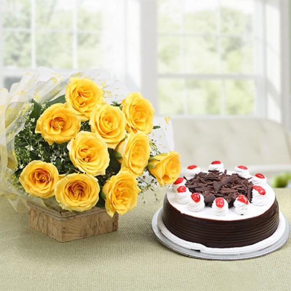 Starburst Yellow Roses N Cake