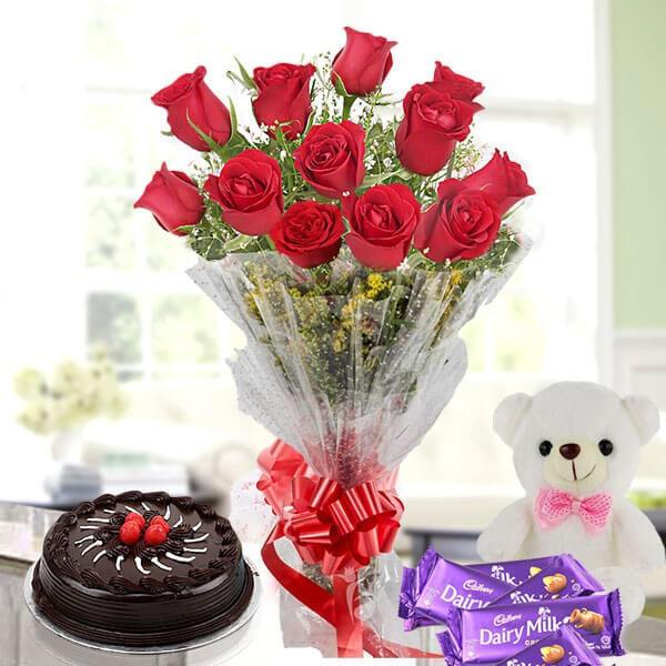 Flower Cake Hamper - 12 red roses chocolate cake teddy chocolate bars